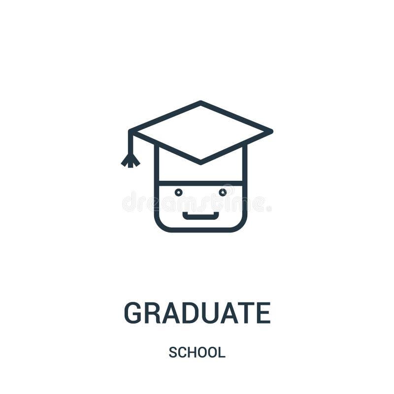 magisterski ikona wektor od szkolnej kolekcji Cienka linia absolwenta konturu ikony wektoru ilustracja Liniowy symbol dla używa n ilustracji