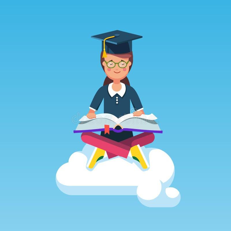 Magistrant/magistrantka dziewczyny obsiadanie na chmurze z książką ilustracji