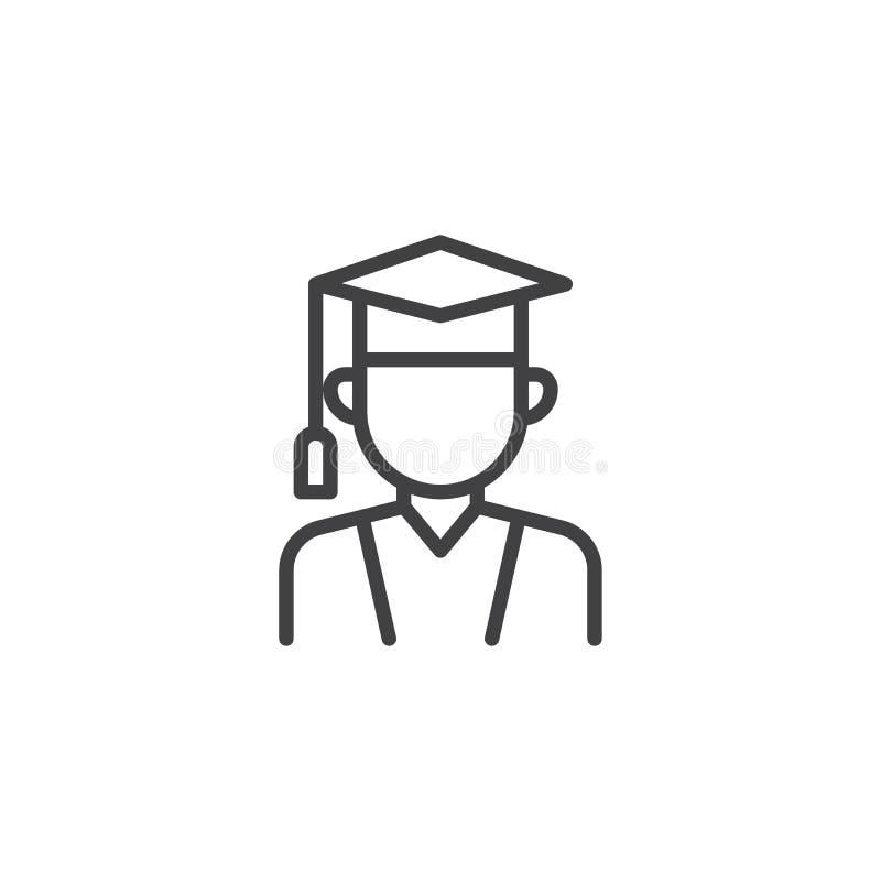 Magistrant/magistrantka kreskowa ikona ilustracja wektor