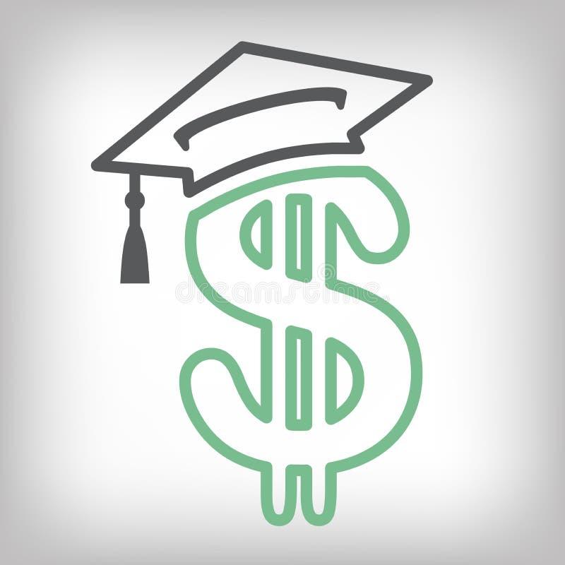 Magistrant/magistrantka Pożyczkowa ikona - Studenckie Pożyczkowe grafika dla edukaci pomoc, wsparcia finansowego, Rządowe pożyczk ilustracji