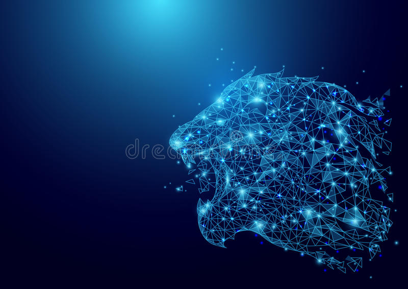 Maglia bassa del wireframe della testa del leone del poligono su fondo blu illustrazione vettoriale