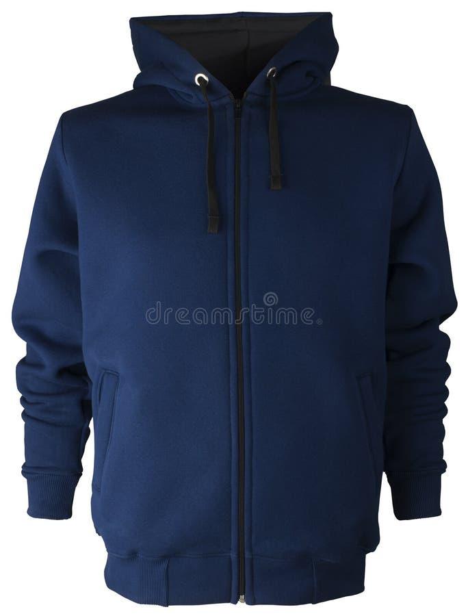 Maglia con cappuccio blu scuro isolata non stampabile della blusa della maglietta felpata del poliestere del cotone con la chiusu immagine stock libera da diritti