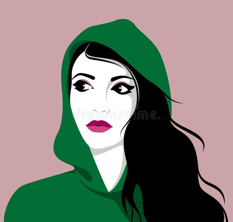 Maglia con cappuccio d'uso della bella donna illustrazione vettoriale