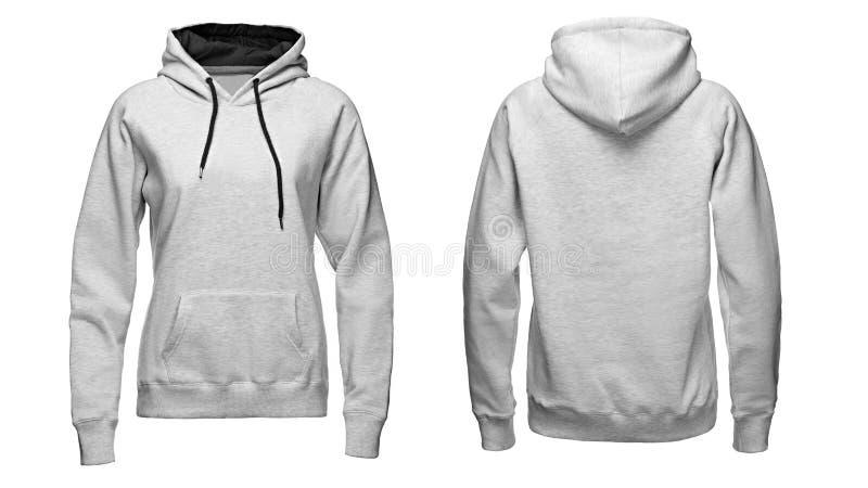 Maglia con cappuccio grigia, modello della maglietta felpata, isolato su fondo bianco immagini stock libere da diritti