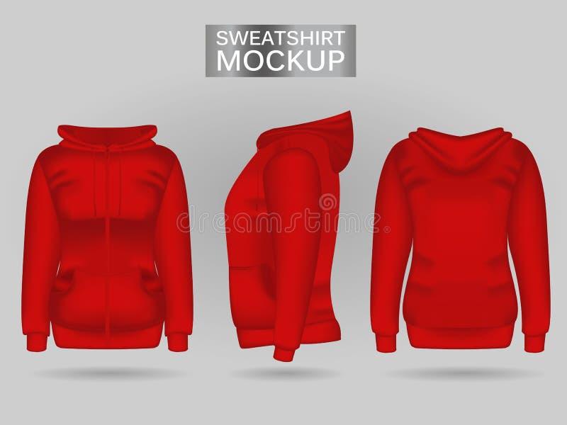Maglia con cappuccio rossa della maglietta felpata delle donne dello spazio in bianco nella parte anteriore, nella parte posterio royalty illustrazione gratis