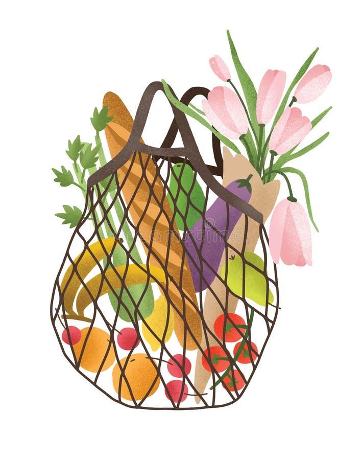 Maglia o borsa netta in pieno dei prodotti alimentari sani isolati su fondo bianco Cliente d'avanguardia con gli ortaggi freschi, illustrazione di stock