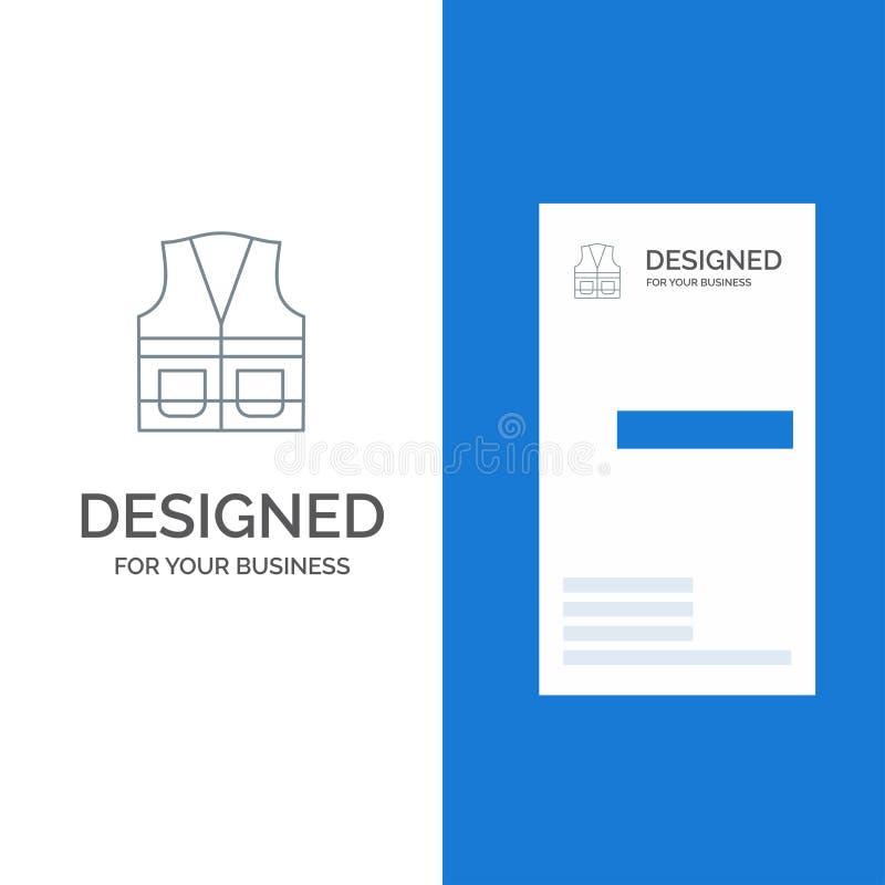 Maglia, rivestimento, lavoro, costruzione, riparazione Grey Logo Design e modello del biglietto da visita illustrazione di stock
