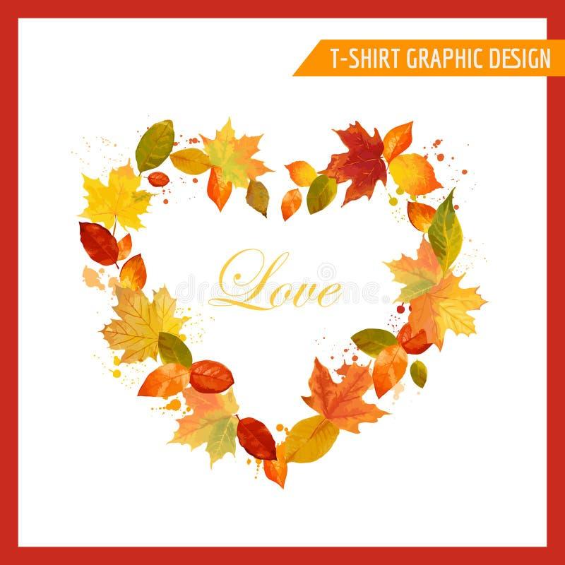 Maglietta Autumn Shabby Chic Graphic Design illustrazione di stock