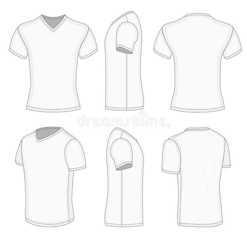 Maglietta bianca del v-collo della manica di tutti gli uomini di viste breve. illustrazione di stock