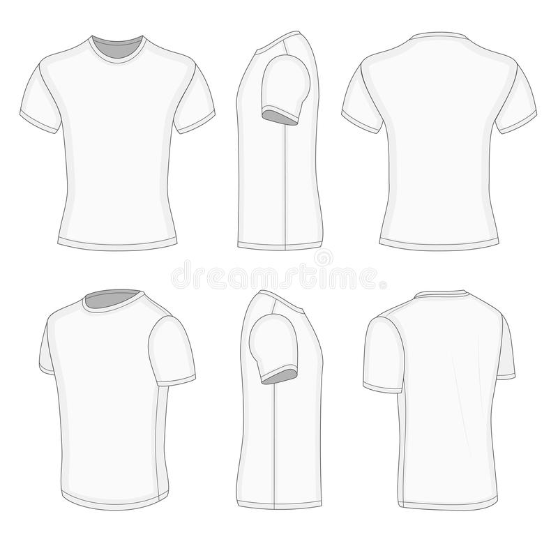 Maglietta bianca della manica di tutti e sei gli uomini di viste breve illustrazione di stock