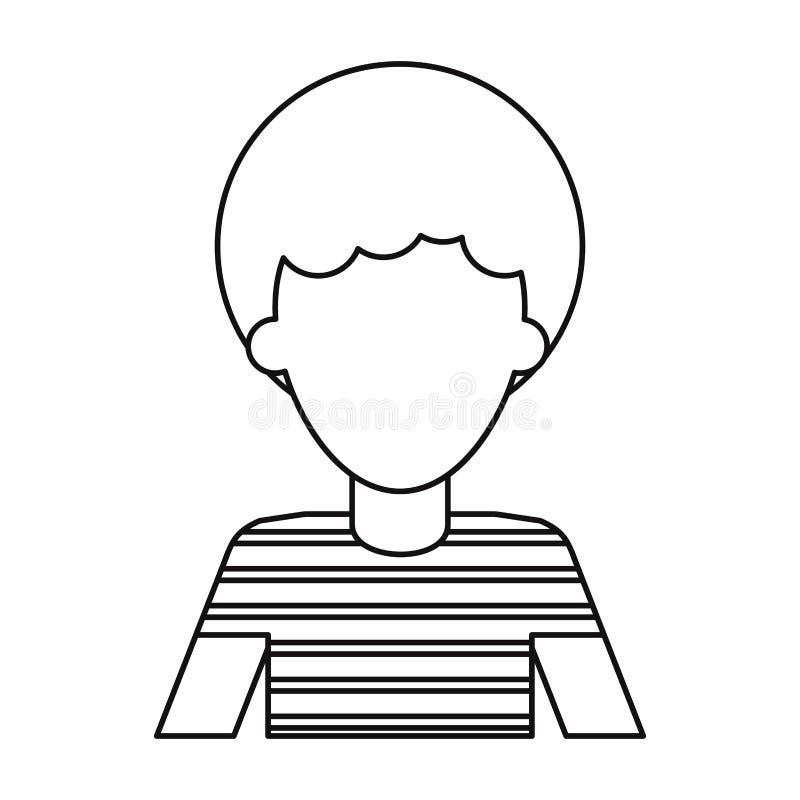 Maglietta dei capelli ricci dell'uomo di afro la giovane assottiglia la linea royalty illustrazione gratis