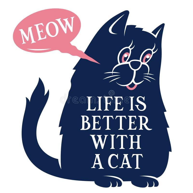 Maglietta 002 del gatto illustrazione vettoriale