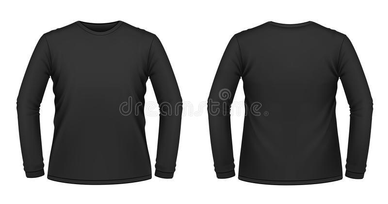 Maglietta long-sleeved nera illustrazione di stock