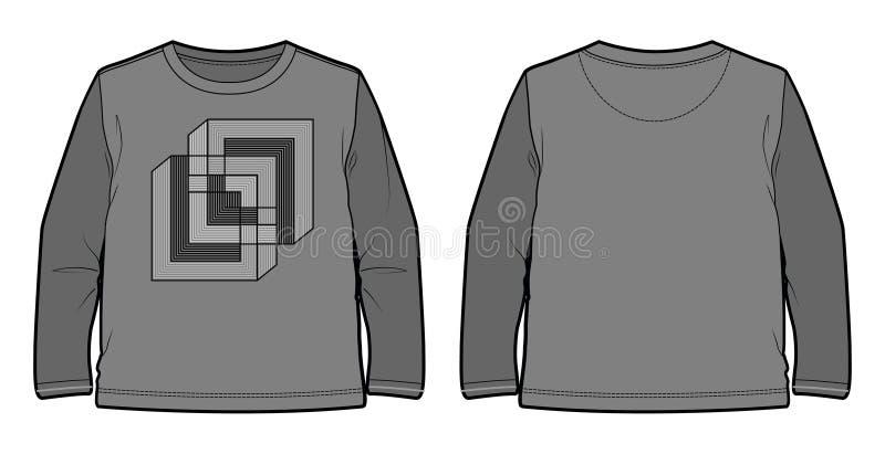 Maglietta a maniche lunghe con la stampa geometrica illustrazione di stock