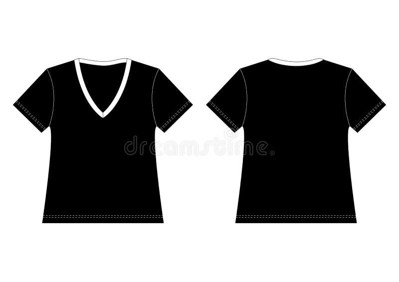 Maglietta nera del V-Collo illustrazione vettoriale