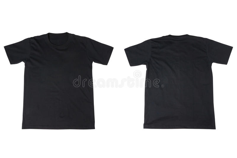 Maglietta nera isolata su bianco fotografie stock libere da diritti