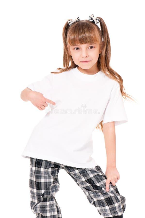 Maglietta sulla ragazza fotografia stock
