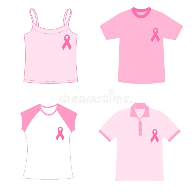 Magliette di consapevolezza del cancro della mammella illustrazione di stock