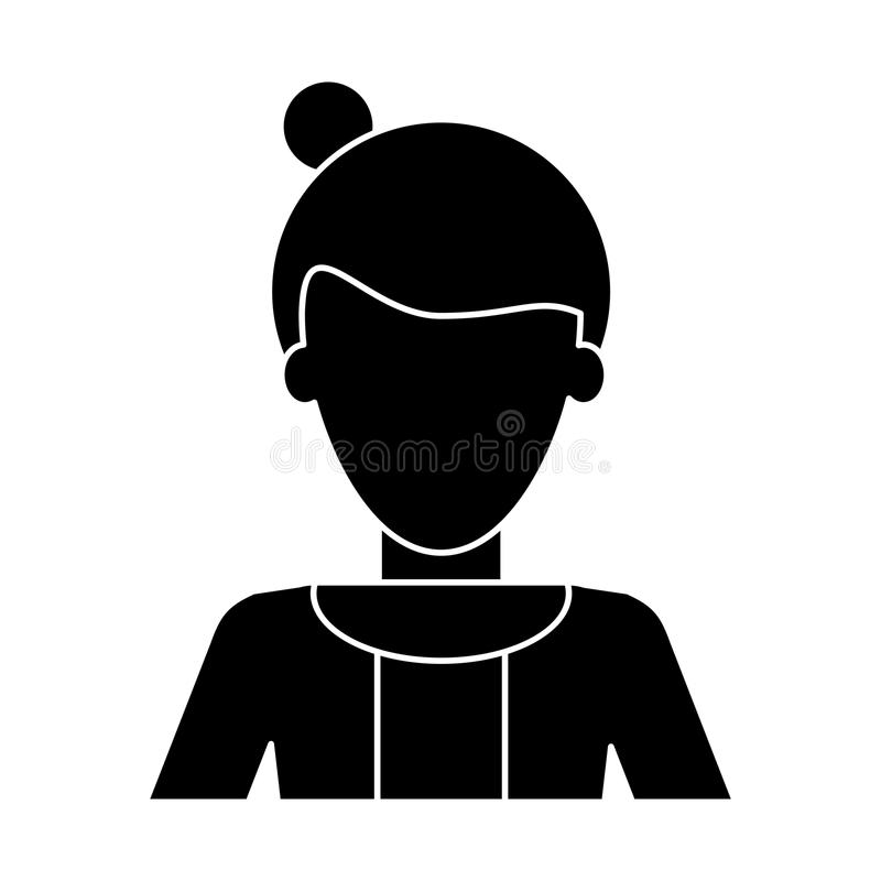 Maglione dei capelli del panino della donna di afro della siluetta casuale illustrazione vettoriale