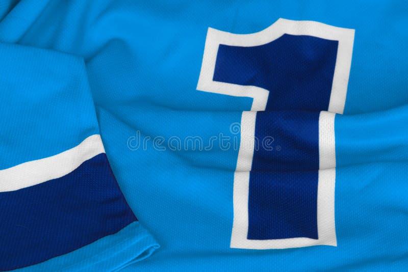 Maglione dell'hockey blu-chiaro con il numero uno immagini stock libere da diritti