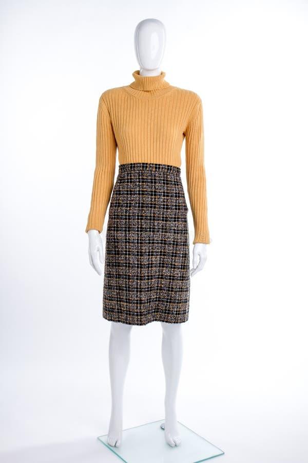 Maglione giallo femminile e gonna a quadretti fotografia stock libera da diritti