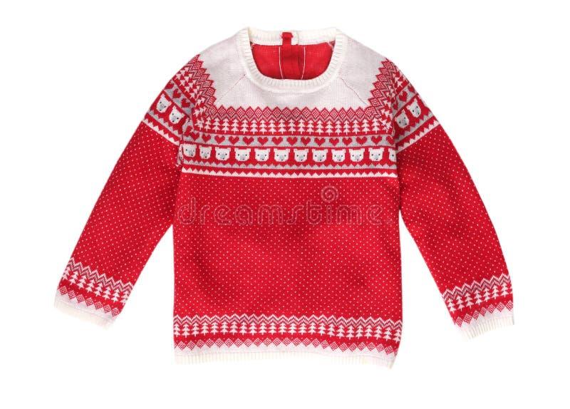 Maglione rosso del modello di natale isolato immagini stock