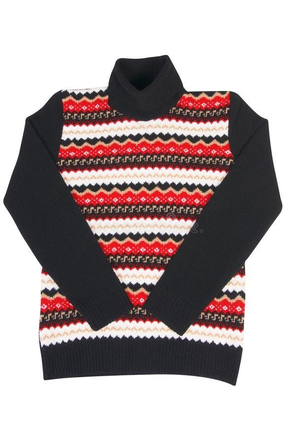 Maglione a strisce alla moda su un bianco. immagine stock libera da diritti