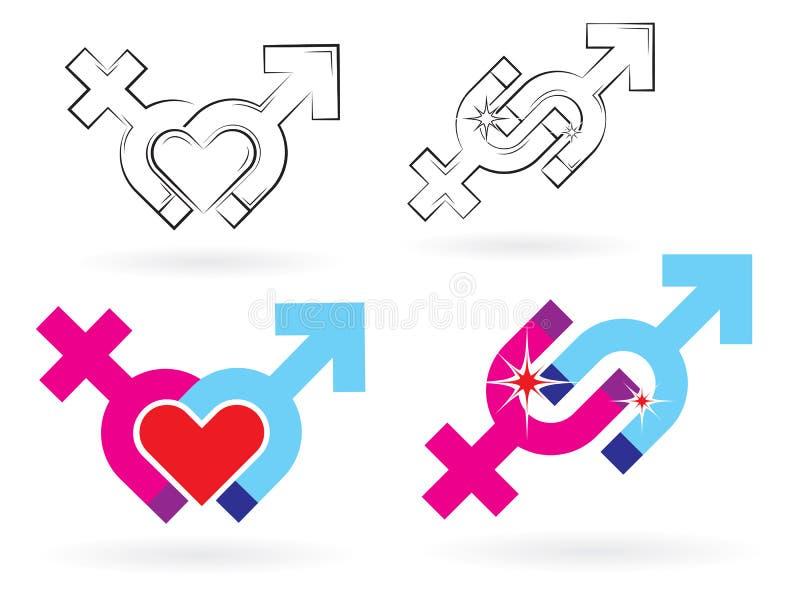 Magnétisme mâle et femelle de symboles illustration de vecteur
