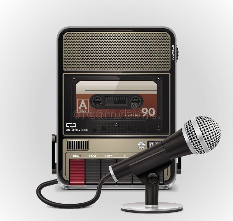 Magnétophone à cassettes de vecteur avec le graphisme du microphone XXL