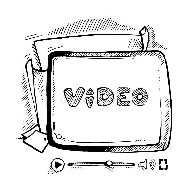 Magnétoscope de griffonnage illustration stock