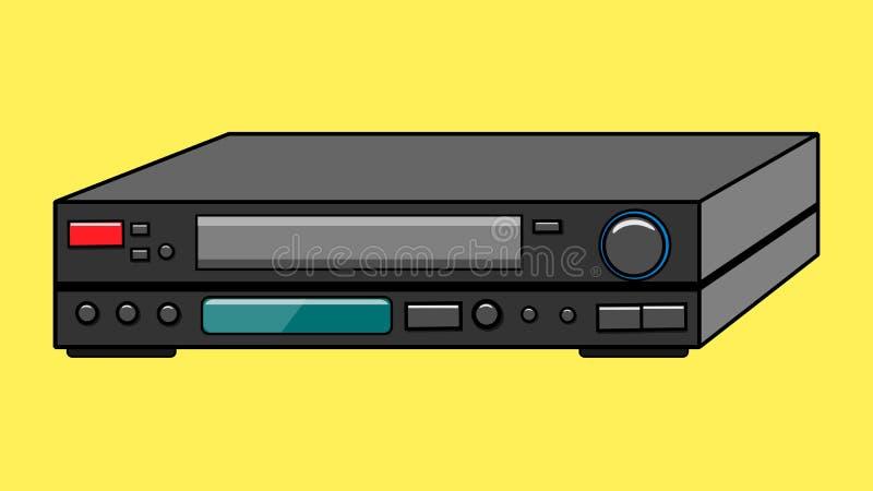 Magnétoscope de vieille de vintage rétro antiquité noire de hippie pour des bandes vidéo pour des films de observation sur un fon illustration libre de droits