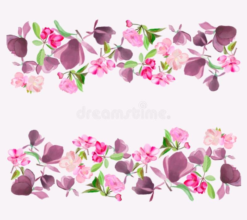 Magnólia da flor da mola da aquarela, cereja cor-de-rosa e flor da árvore de maçã ilustração royalty free