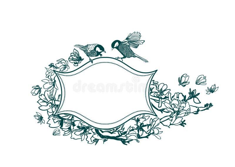 Magnólia victorian dos pássaros dos pássaros do fundo do vetor do quadro ilustração royalty free