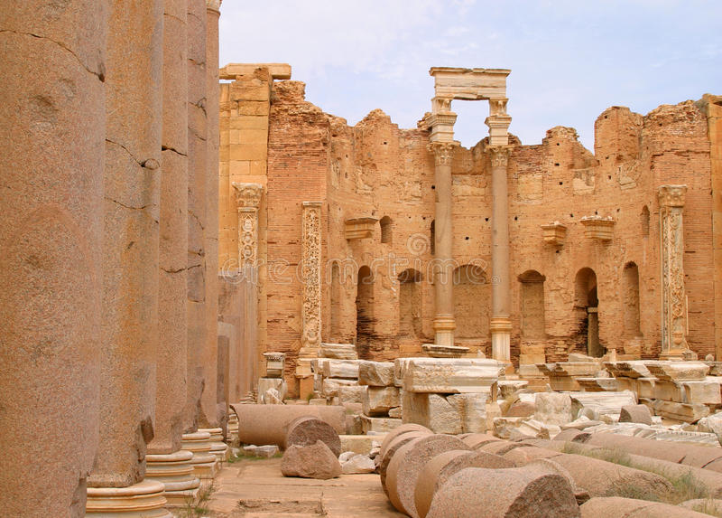 Magna de Libia Trípoli Leptis imagenes de archivo