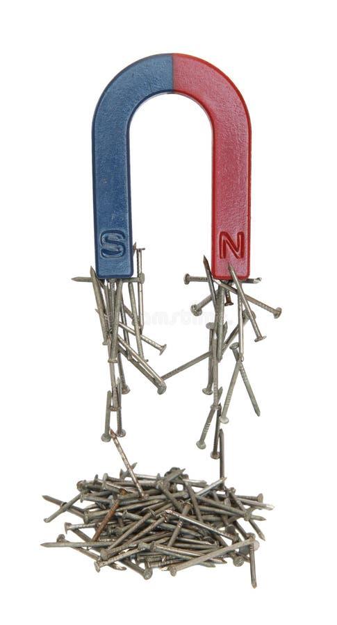 Magneet en spijkers. stock afbeeldingen