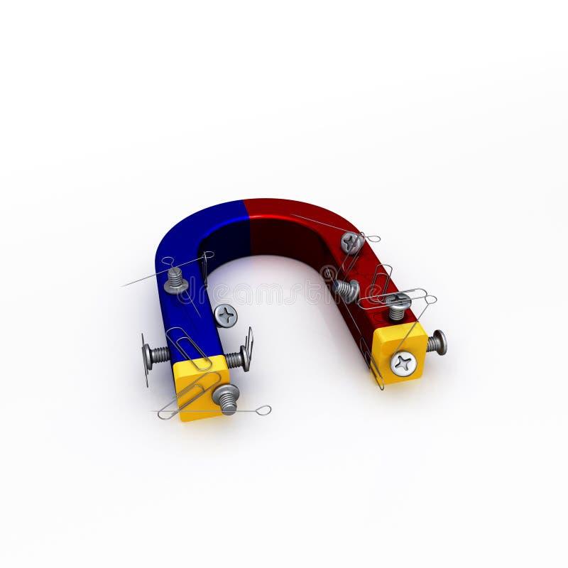 Magneet met schroeven papier-klemmen en papier-spelden royalty-vrije illustratie