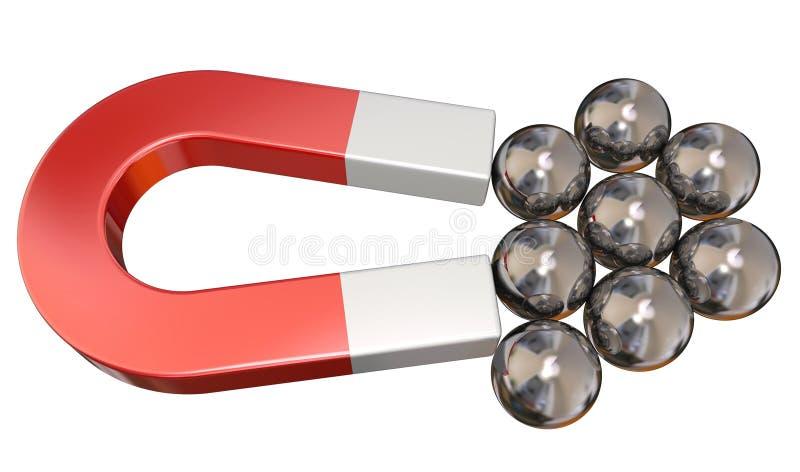 Magnesów Balowych pelengów przyciągania ciągnienia metalu Magnesowa siła zdjęcia royalty free