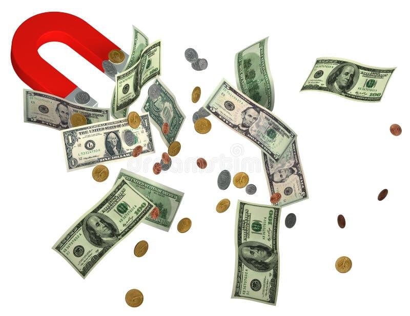 Magnes i pieniądze royalty ilustracja