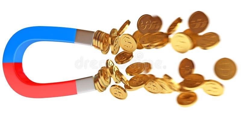 Magnes i złote monety royalty ilustracja