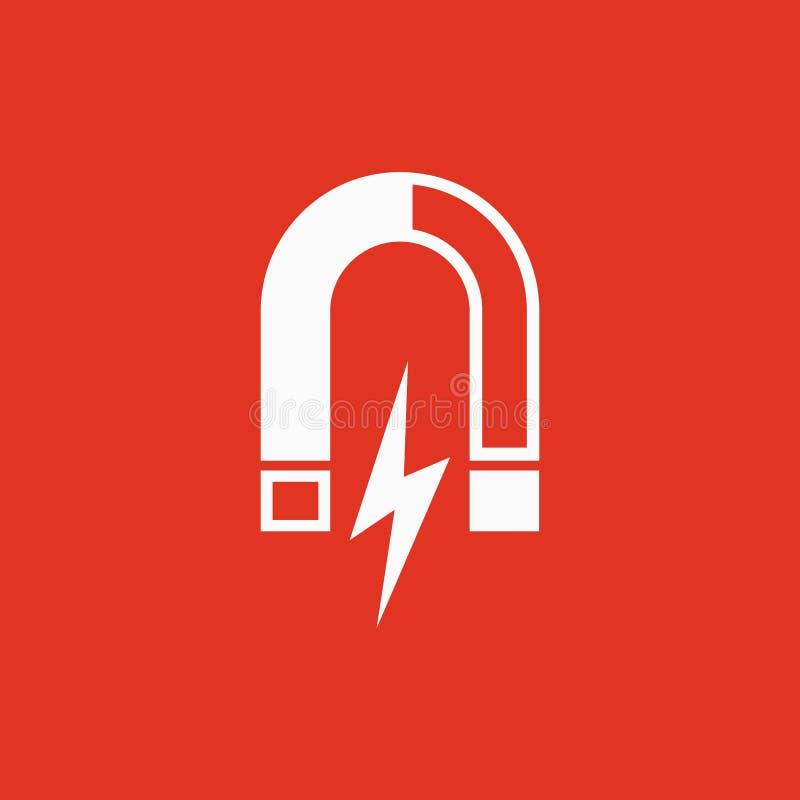Magnes ikona Magnesowy i przyciąga, physics symbol Płaski projekt Zapas - Wektorowa ilustracja ilustracja wektor