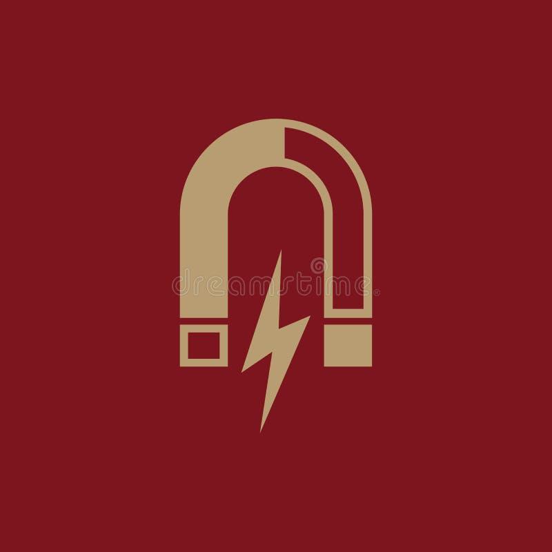 Magnes ikona Magnesowy i przyciąga, physics symbol Płaski projekt Zapas - Wektorowa ilustracja ilustracji