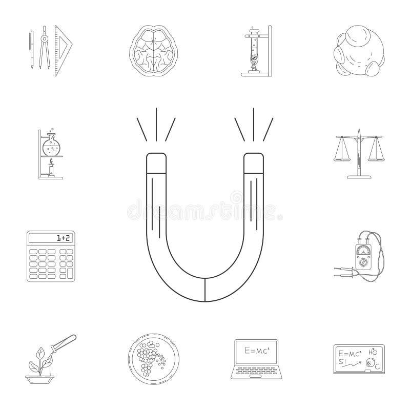 Magnes ikona Szczegółowy set nauki i lab ilustracje Premii ilości graficznego projekta ikona Jeden inkasowe ikony dla w royalty ilustracja