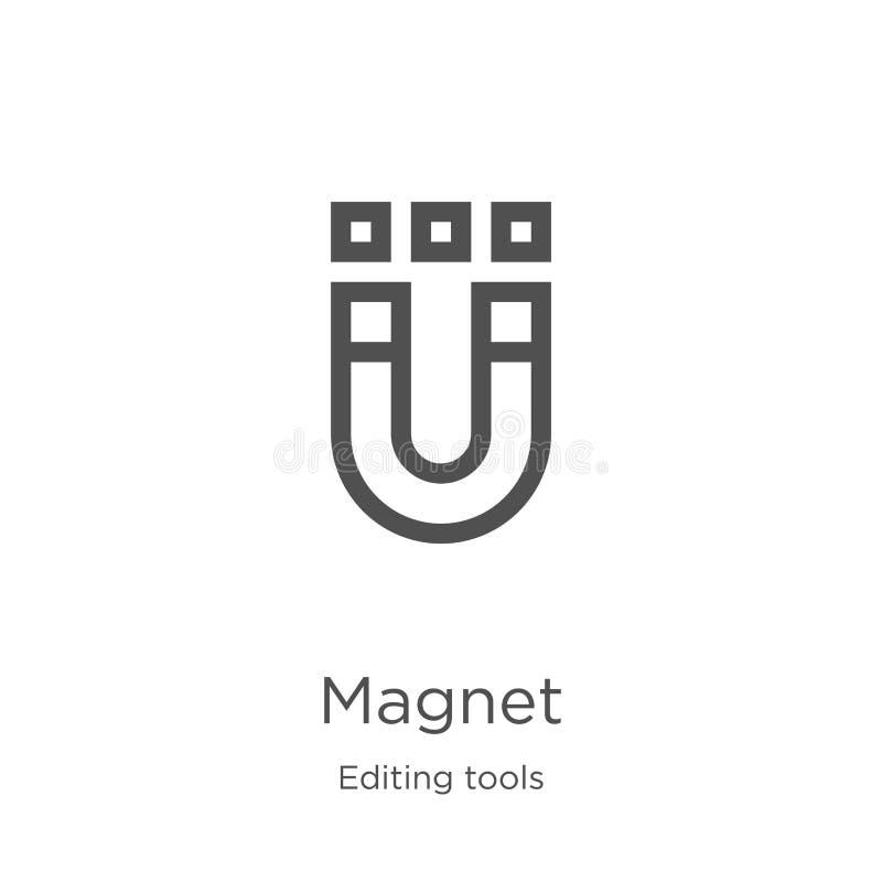 magnes ikony wektor od edytorstwa wytłacza wzory kolekcję Cienka kreskowa magnesu konturu ikony wektoru ilustracja Kontur, cienie ilustracji