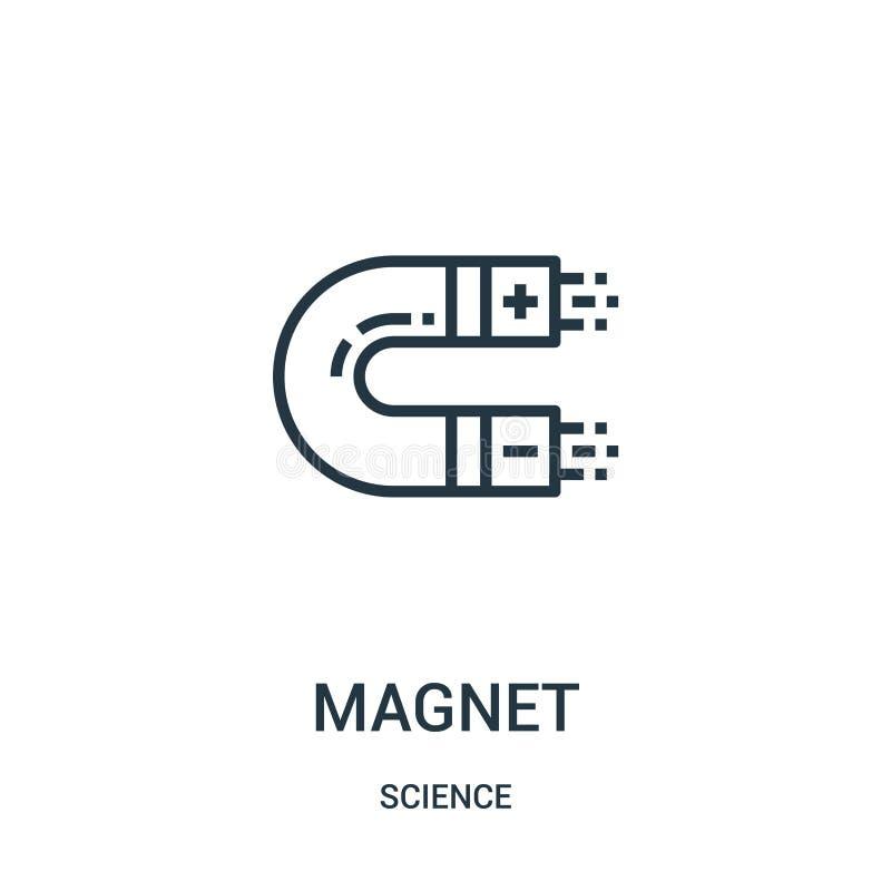 magnes ikony wektor od nauki kolekcji Cienka kreskowa magnesu konturu ikony wektoru ilustracja Liniowy symbol dla używa na sieci  ilustracja wektor