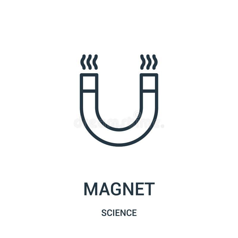 magnes ikony wektor od nauki kolekcji Cienka kreskowa magnesu konturu ikony wektoru ilustracja Liniowy symbol royalty ilustracja