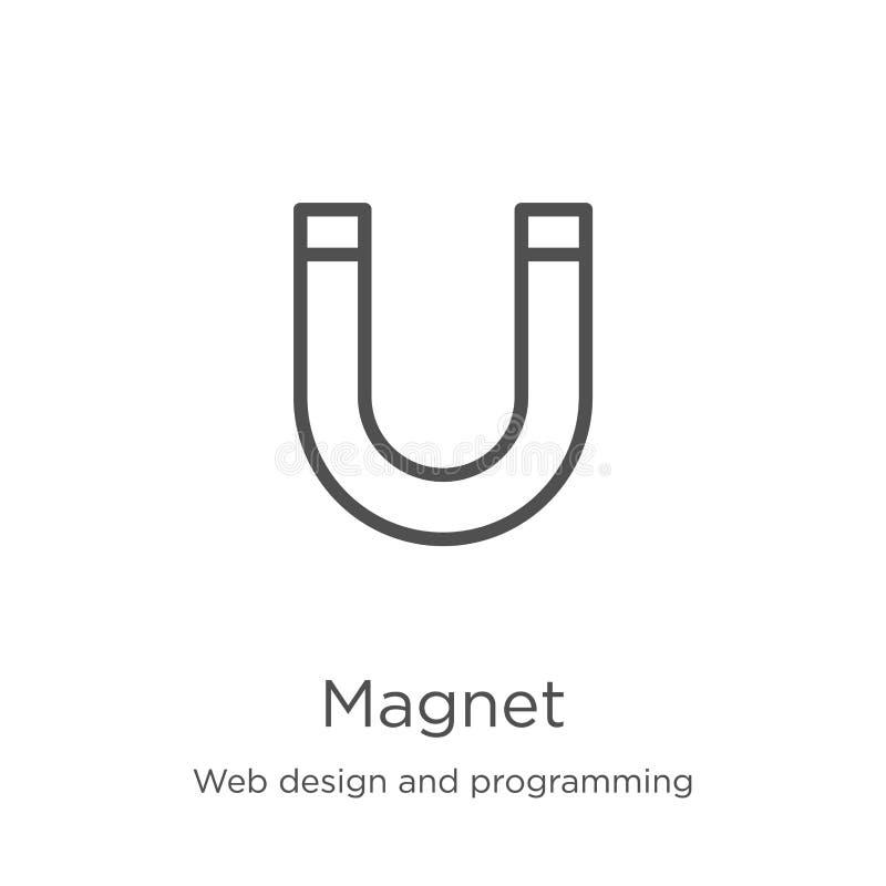 magnes ikony wektor od sieć projekta i programowanie kolekcji Cienka kreskowa magnesu konturu ikony wektoru ilustracja Kontur, ci ilustracja wektor