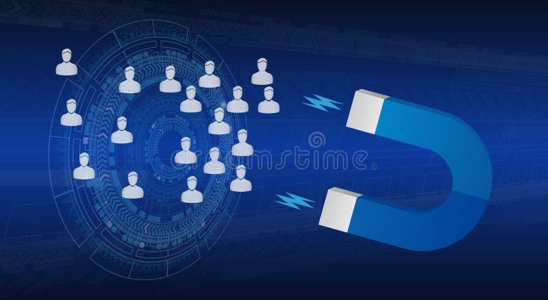 Magnes Przyciąga ludzi Przylatującego Marketingowego sztandaru ilustracji