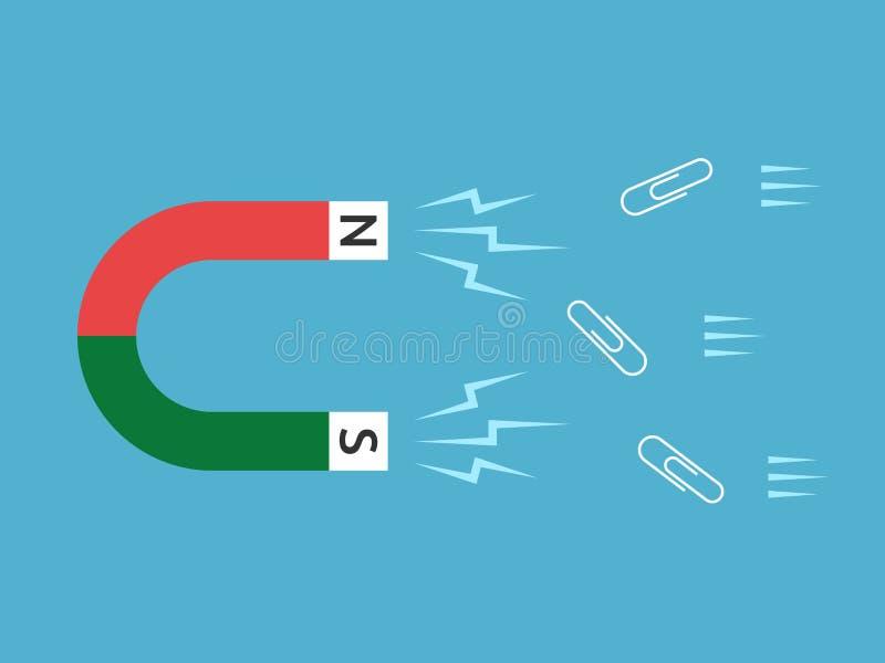 Magnes przyciąga papierowe klamerki ilustracji
