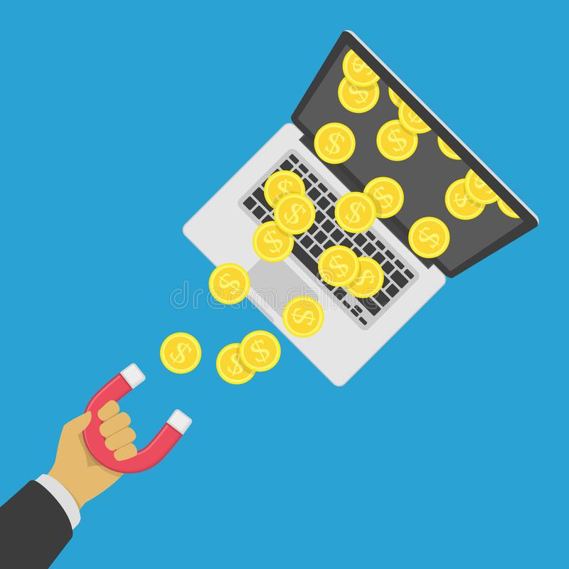 Magnes przyciąga pieniądze ilustracja wektor