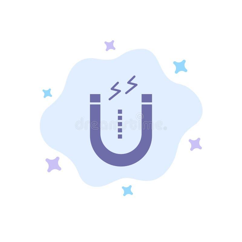 Magnes, Przyciąga, Przyciągający, narzędzie Błękitna ikona na abstrakt chmury tle royalty ilustracja